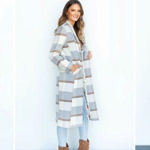 Apricot Lane Gray Striped Long Coat